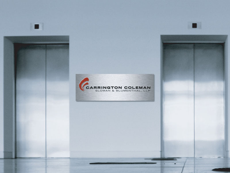 Environmental Design of brand signage in law firm.