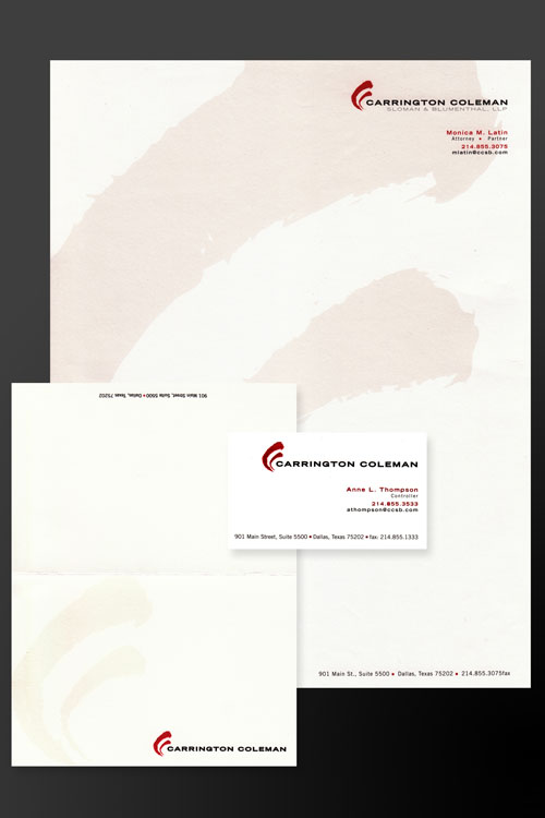 Stationery design and printing for law firm by San Antonio company