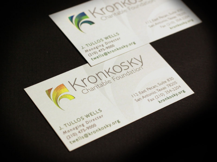 Closeup of custom luxury business card developed for San Antonio company