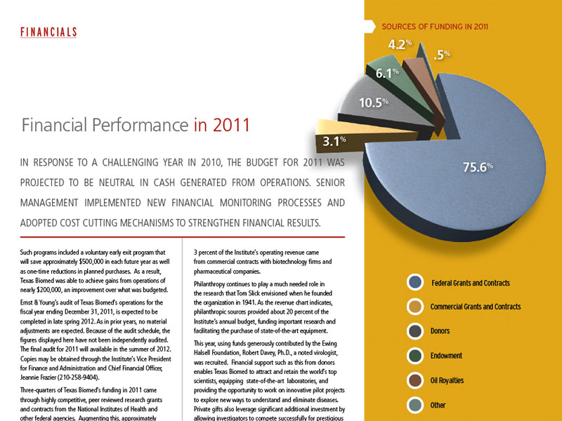 Annual report publication design in San Antonio